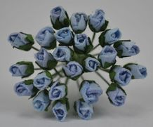 4mm BABY BLUE ROSE BUDS Mulberry Paper Flowers